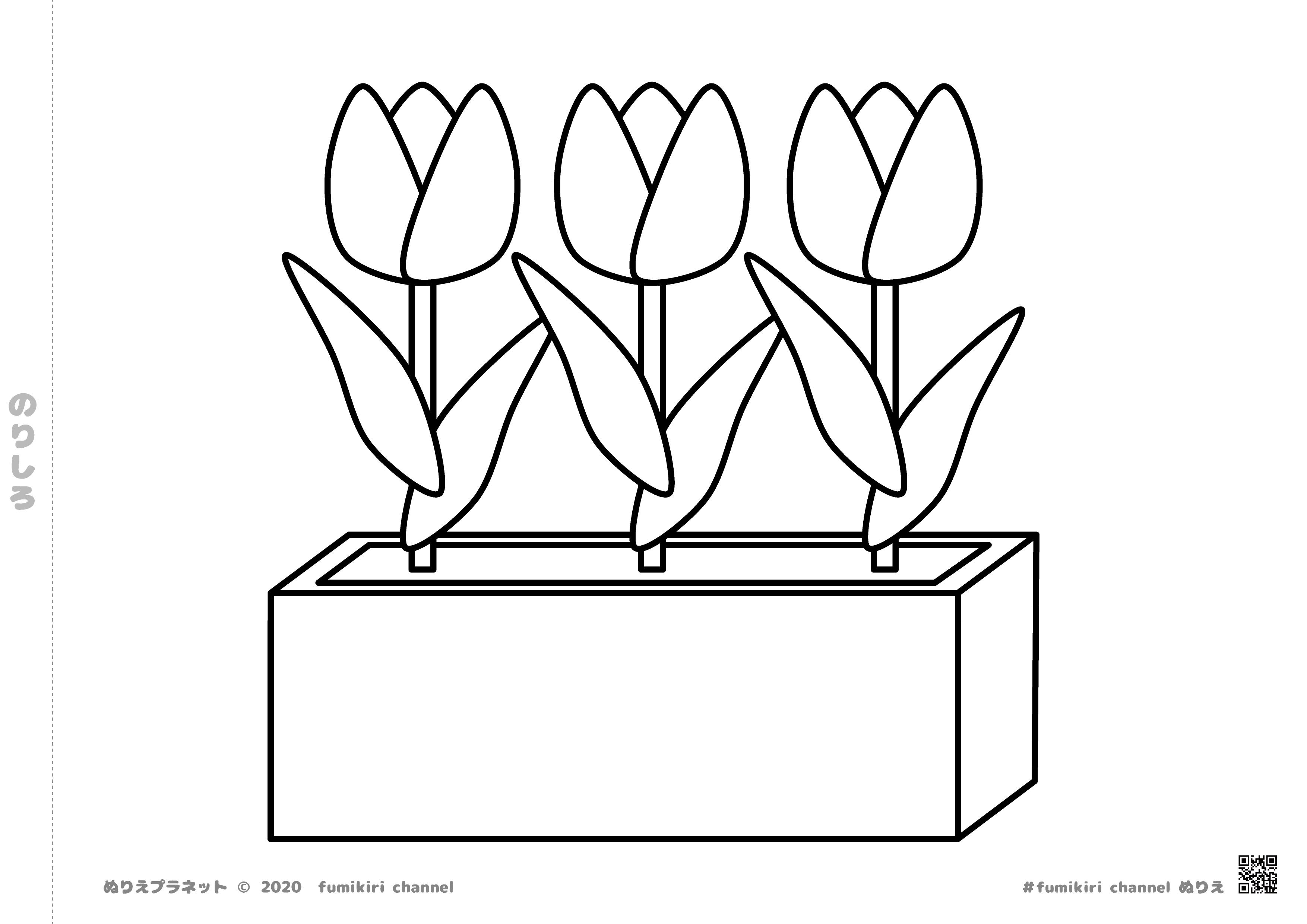 咲いた咲いたチューリップの花のぬりえ