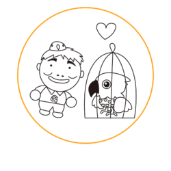 とりじい物語のキャラクタースライド用ロゴです。